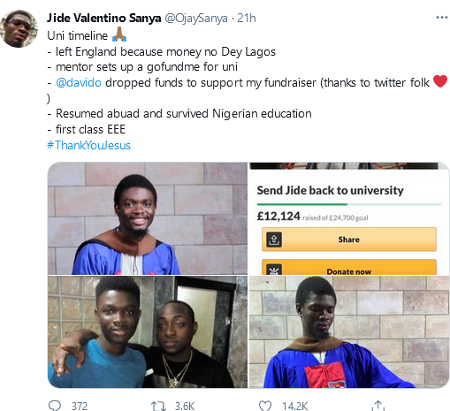 ABUAD first-class graduate thanks Davido for partly funding his education