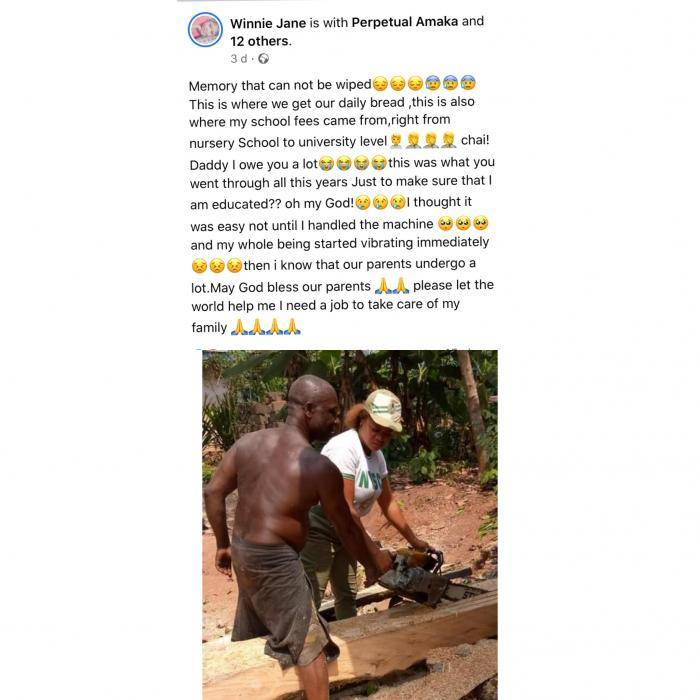 Corps member celebrates her sawyer father for sponsoring her education