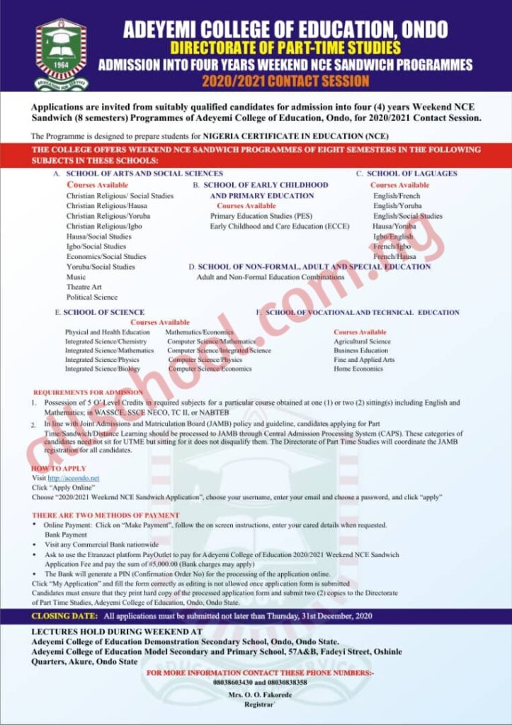 ACEONDO Part-Time NCE Sandwich Form 2020/2021 Contact Session