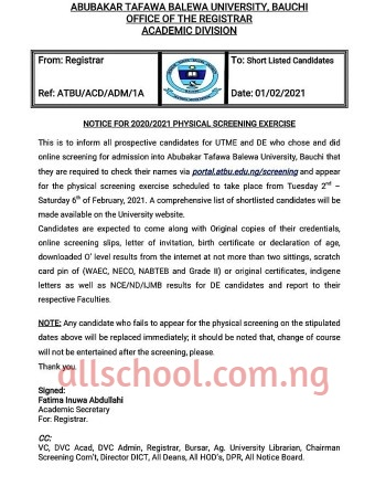 ATBU Physical Screening Notice for 2020/2021 Session