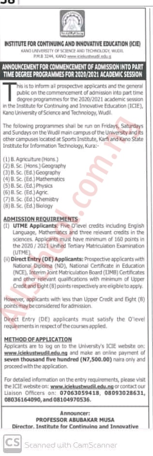 Kust part time degree form