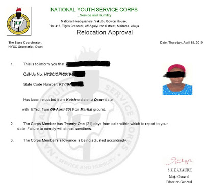 This is an example of NYSC relocation letter