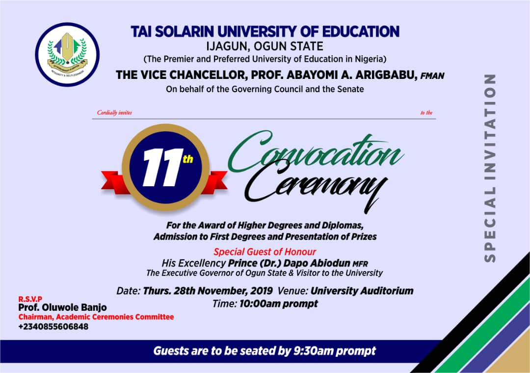 TASUED 11th Convocation Ceremony Programme of Events